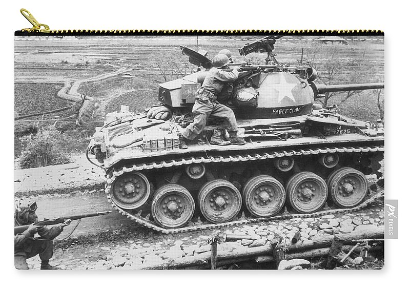 1951 Carry-all Pouch featuring the photograph Korean War, 1951 by Granger