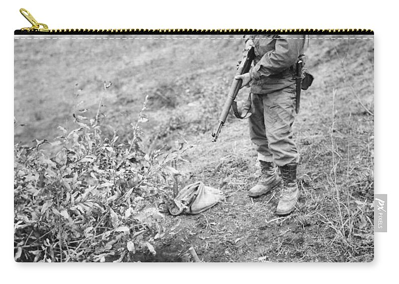 1951 Carry-all Pouch featuring the photograph Korean War: Foxhole, 1951 by Granger