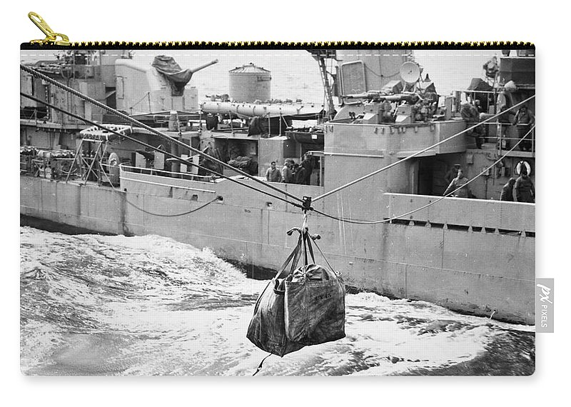 1953 Carry-all Pouch featuring the photograph Korean War: Navy Mailbag by Granger