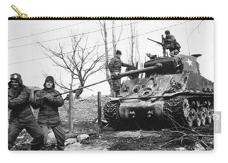 1951 Carry-all Pouch featuring the photograph Korean War: Tank, 1951 by Granger