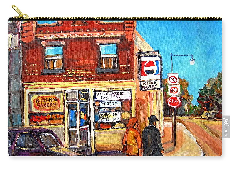 Kosher Bakery On Hutchison Carry-all Pouch featuring the painting Kosher Bakery On Hutchison by Carole Spandau