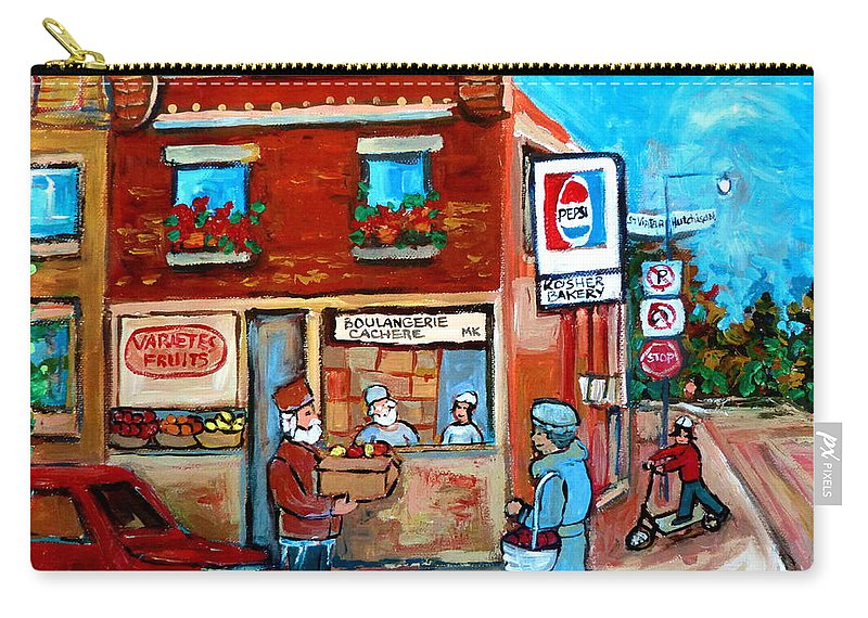 Kosher Bakery Carry-all Pouch featuring the painting Kosher Bakery On Hutchison Street by Carole Spandau