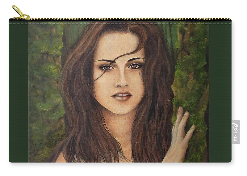 Twilight Carry-all Pouch featuring the painting Kristen Stewart by Lena Day