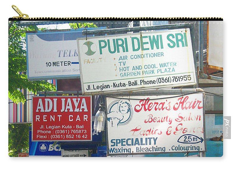 Bali Carry-all Pouch featuring the photograph Kuta Street Signs -- Bali by Mark Sellers
