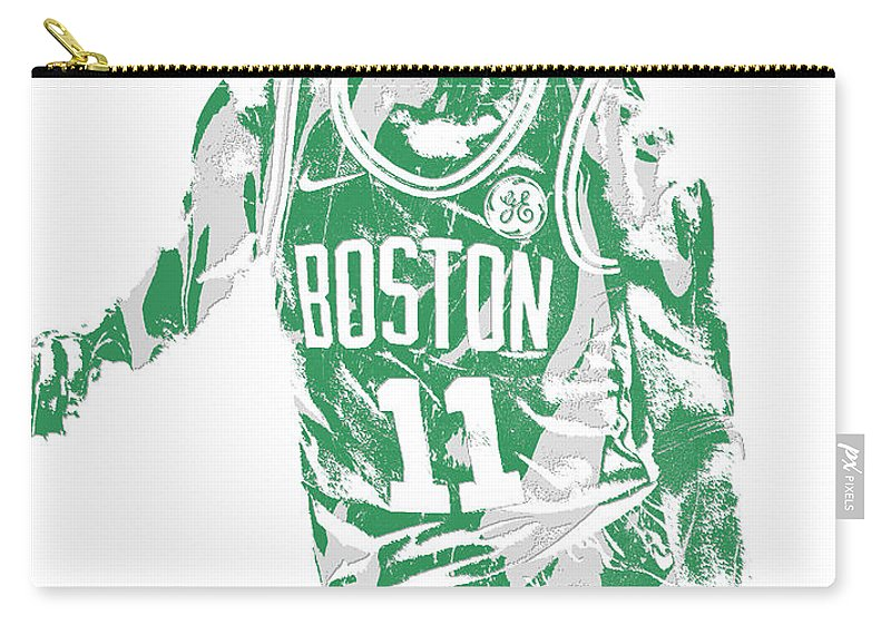 Kyrie Irving Carry-all Pouch featuring the mixed media Kyrie Irving Boston Celtics Pixel Art 6 by Joe Hamilton