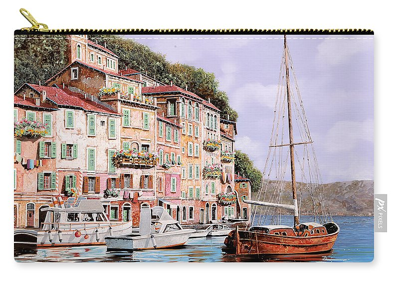Landscape Carry-all Pouch featuring the painting La Barca Rossa Alla Calata by Guido Borelli