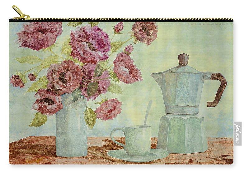 Breakfast Carry-all Pouch featuring the painting La Caffettiera E I Fiori Amaranto by Guido Borelli