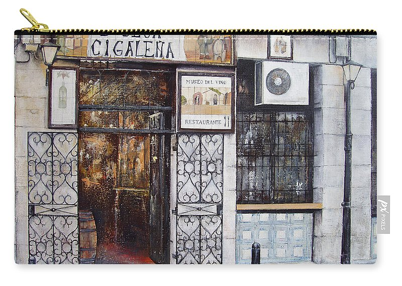 Bodega Carry-all Pouch featuring the painting La Cigalena Old Restaurant by Tomas Castano