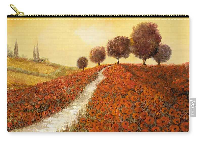 Tuscany Carry-all Pouch featuring the painting La Collina Dei Papaveri by Guido Borelli