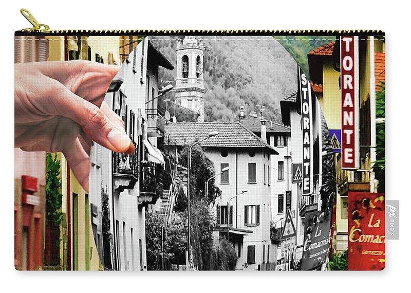 Lake Como Carry-all Pouch featuring the digital art La Comacina Ristorante-colonno, Ital by Jennie Breeze