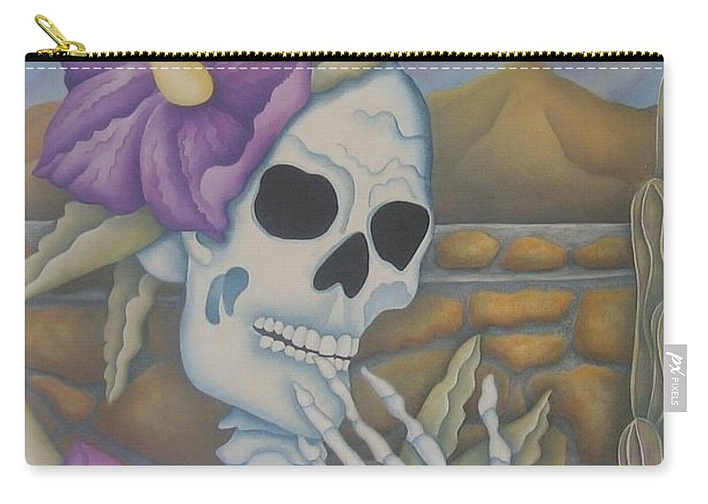 Calavera Carry-all Pouch featuring the painting La Coqueta- The Coquette by Jeniffer Stapher-Thomas