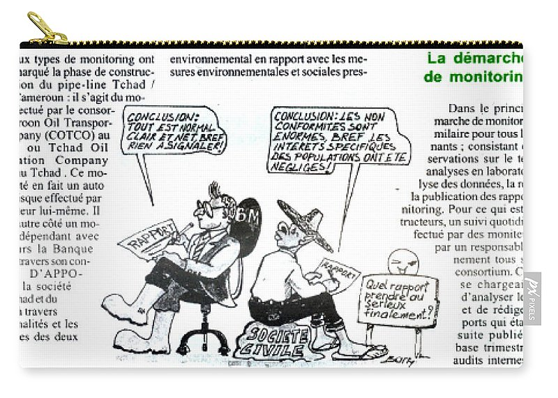 Cartoons Carry-all Pouch featuring the drawing La Demarche De Monitoring by Emmanuel Baliyanga