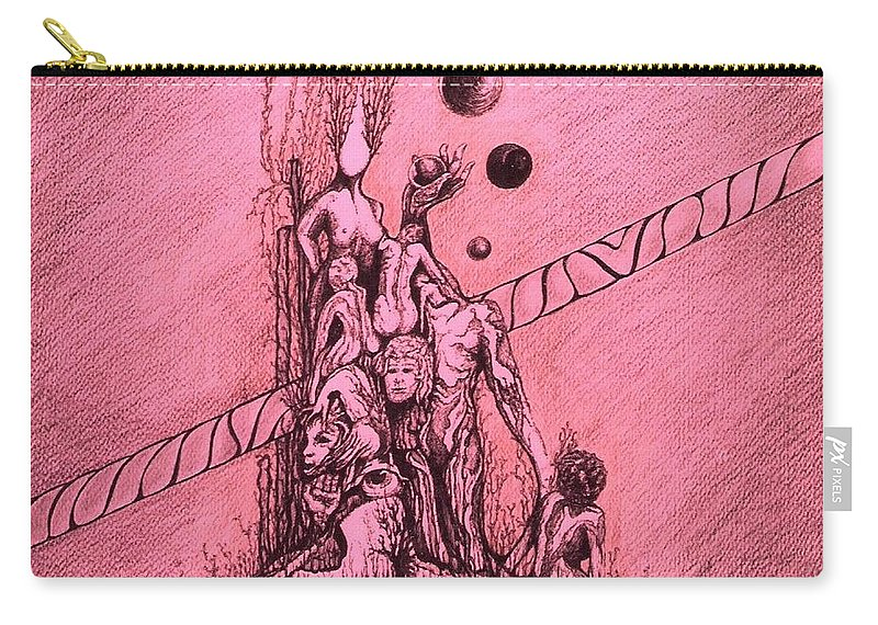 Surreal Artwork Carry-all Pouch featuring the painting La Familia by Jordana Sands