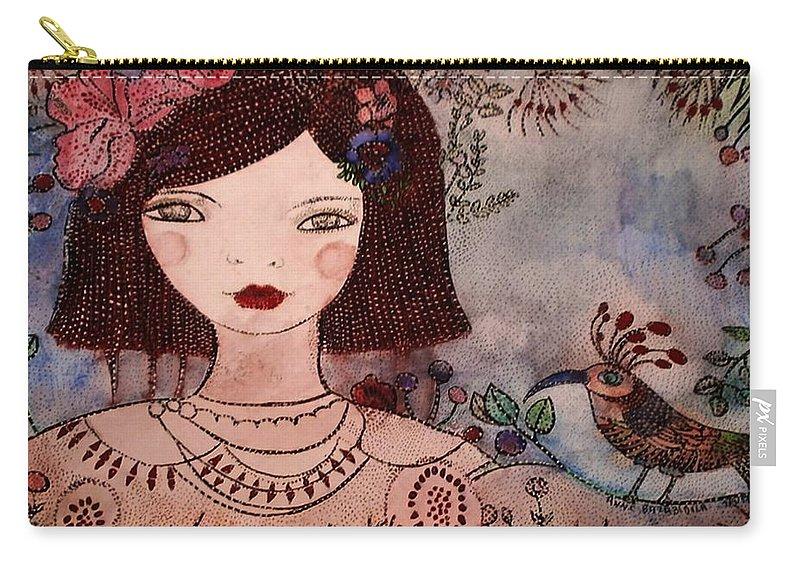 Fillette Carry-all Pouch featuring the painting La Jolie Poupee Et L' Oiseau by Anne BAZABIDILA