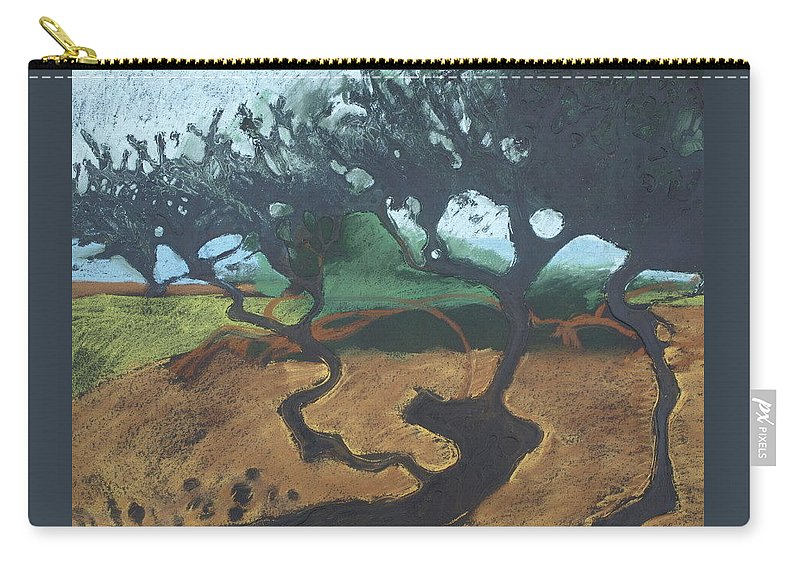 Contemporary Tree Landscape Carry-all Pouch featuring the drawing La Jolla I by Leah Tomaino
