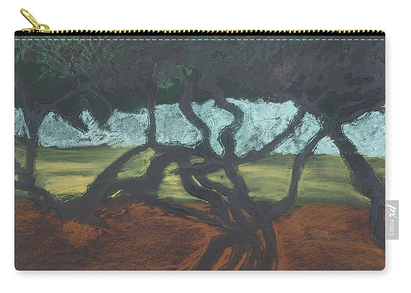 Contemporary Tree Landscape Carry-all Pouch featuring the mixed media La Jolla II by Leah Tomaino