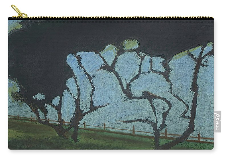 Contemporary Tree Landscape Carry-all Pouch featuring the mixed media La Jolla IIi by Leah Tomaino