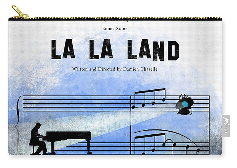 Alternative Movie Poster Illustration La La Land Damien Chazelle Musical Los Angeles City Stars Ryan Gosling Emma Stone Carry-all Pouch featuring the digital art La La Land by Edgar Ascensao