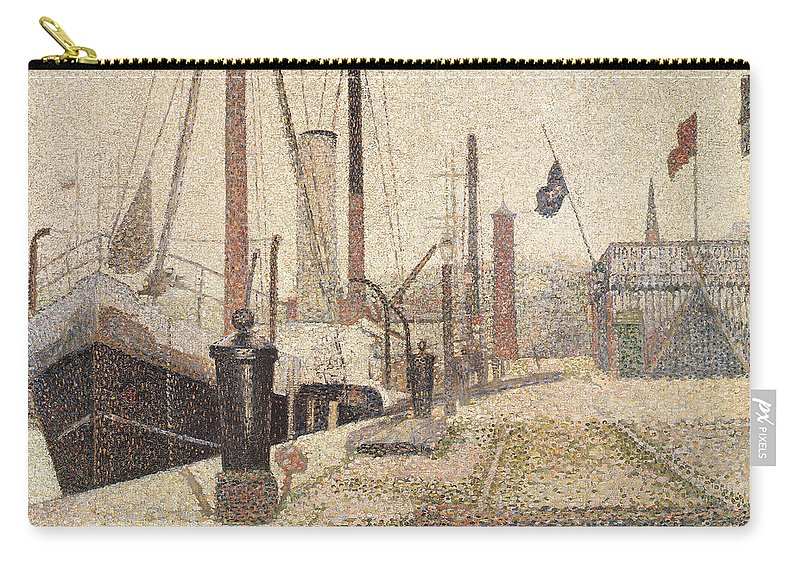 La Maria At Honfleur Carry-all Pouch featuring the painting La Maria At Honfleur by Georges Pierre Seurat