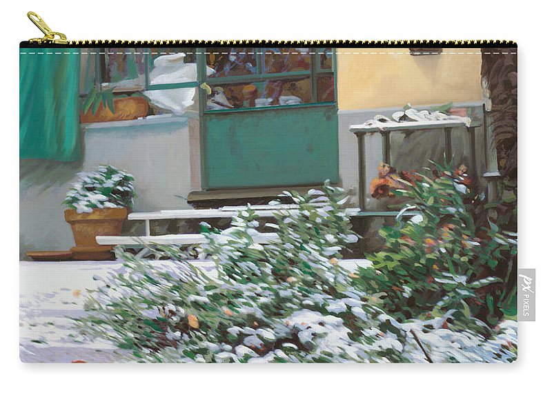 Snow Carry-all Pouch featuring the painting La Neve A Casa by Guido Borelli