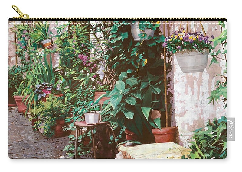 Street Scens Carry-all Pouch featuring the painting La Panca Di Pietra by Guido Borelli