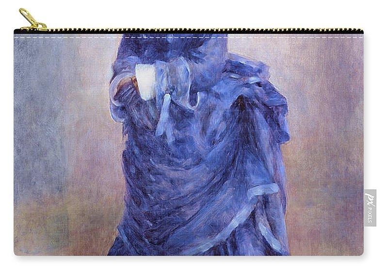 Female; Portrait; Impressionist; Full Length; Bonnet; Hat; Purple Dress; Bustle; Parisian; French; Dame; Bleu Carry-all Pouch featuring the painting La Parisienne The Blue Lady by Pierre Auguste Renoir