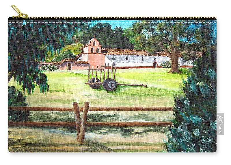 La Purisima Carry-all Pouch featuring the painting La Purisima With Fence by Angie Hamlin