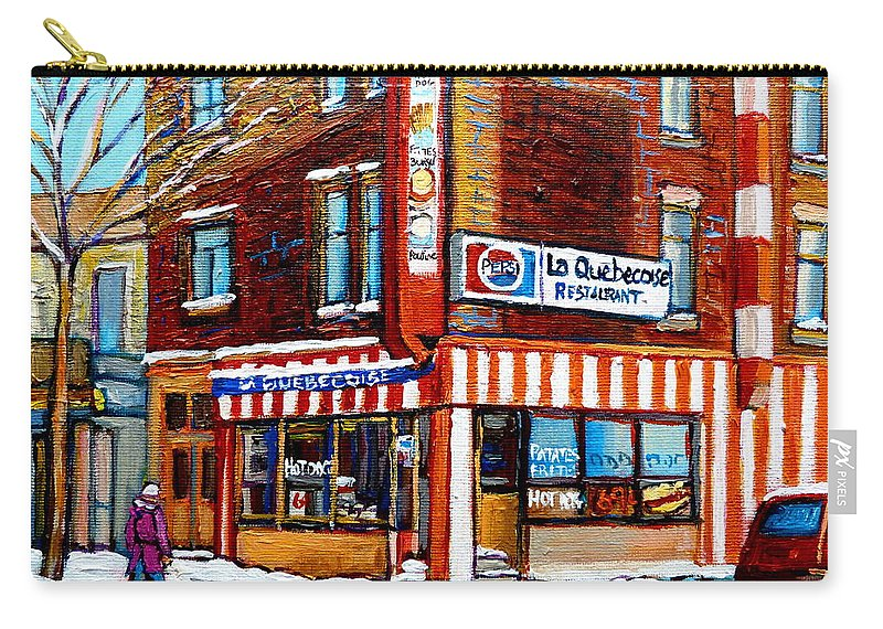 La Quebecoise Restaurant Carry-all Pouch featuring the painting La Quebecoise Restaurant Montreal by Carole Spandau