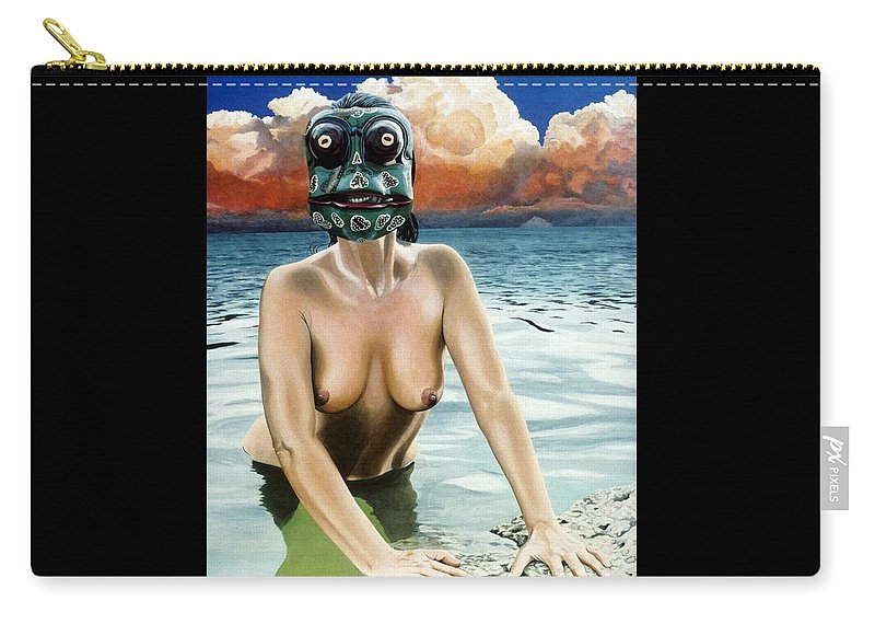 Mexican Masks Carry-all Pouch featuring the painting La Rana by Michael Earney