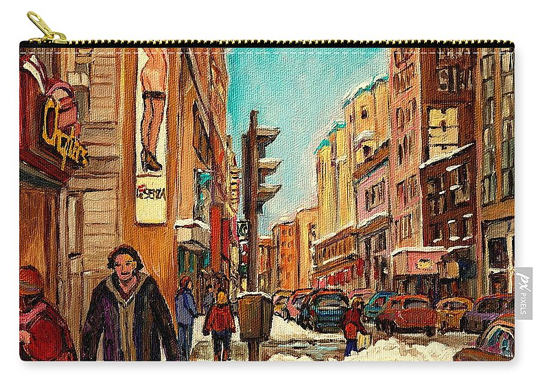 La Senza St Catherine Street Carry-all Pouch featuring the painting La Senza St Catherine Street Downtown Montreal by Carole Spandau
