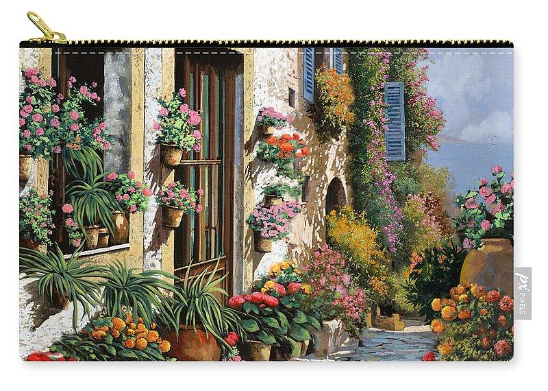 Seascape Carry-all Pouch featuring the painting La Strada Del Lago by Guido Borelli