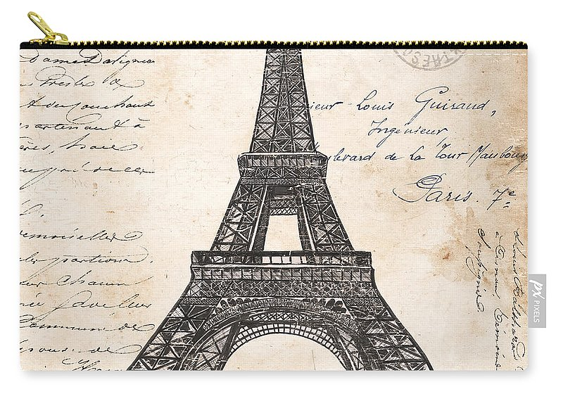 Eiffel Tower Carry-all Pouch featuring the painting La Tour Eiffel by Debbie DeWitt