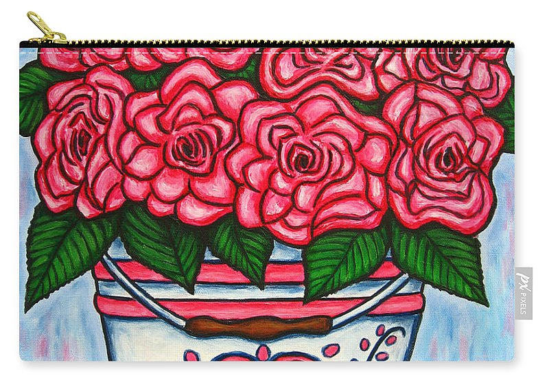 Rose Carry-all Pouch featuring the painting La Vie En Rose by Lisa Lorenz