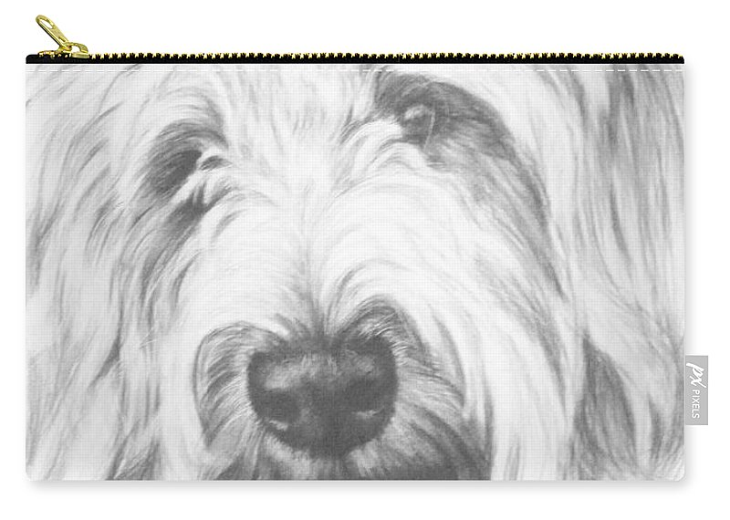 Designer Dog Carry-all Pouch featuring the drawing Labradoodle by Barbara Keith