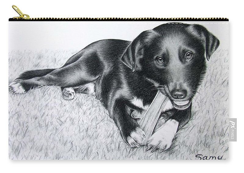 Dog Carry-all Pouch featuring the drawing Labrador Samy by Nicole Zeug