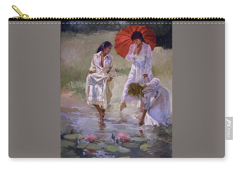 Figurative Carry-all Pouch featuring the painting Ladies And Lilies by Betty Jean Billups