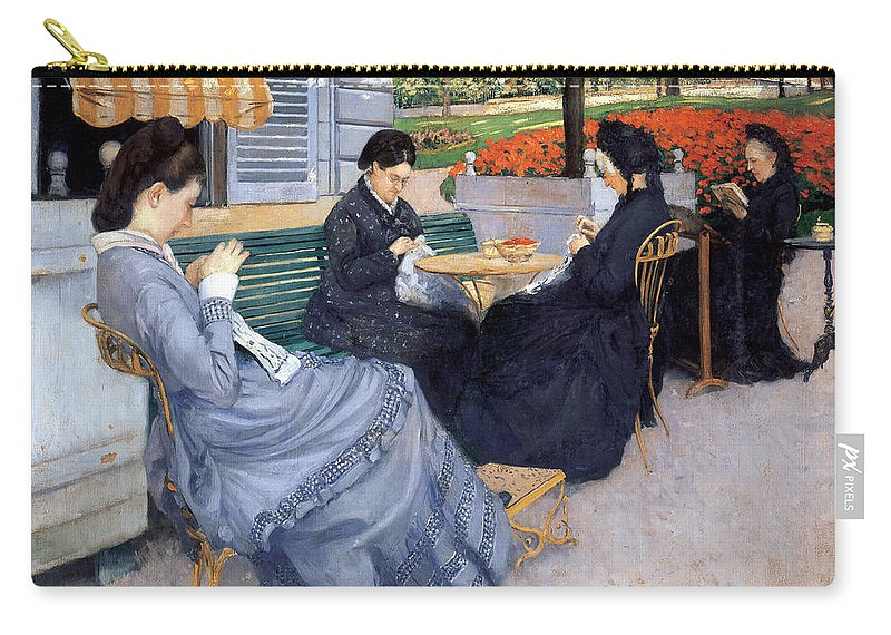 Gustave Caillebotte Carry-all Pouch featuring the painting Ladies Sewing by Gustave Caillebotte
