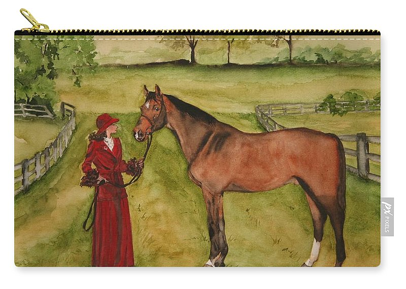 Horse Carry-all Pouch featuring the painting Lady And Horse by Jean Blackmer