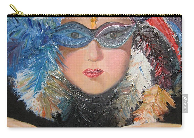 A Face With A Venetian Mask With Feathers And Hands On The Sides Carry-all Pouch featuring the painting Lady At A Carvinal by Maria Kobalyan