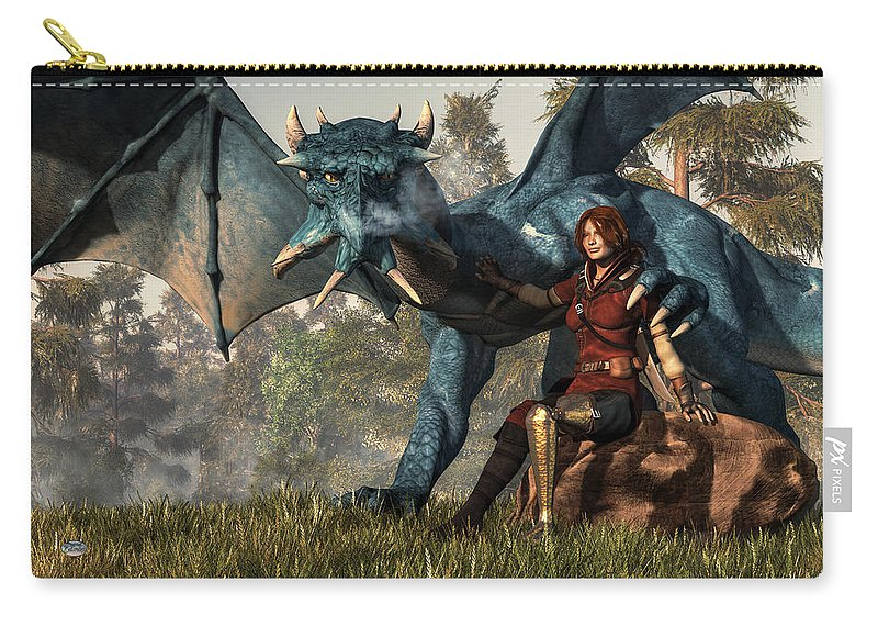 Lady Blue Dragon Carry-all Pouch featuring the digital art Lady Blue Dragon by Daniel Eskridge