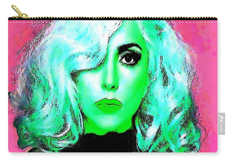 Lady Gaga Art Carry-all Pouch featuring the digital art Lady Gaga by David Conin