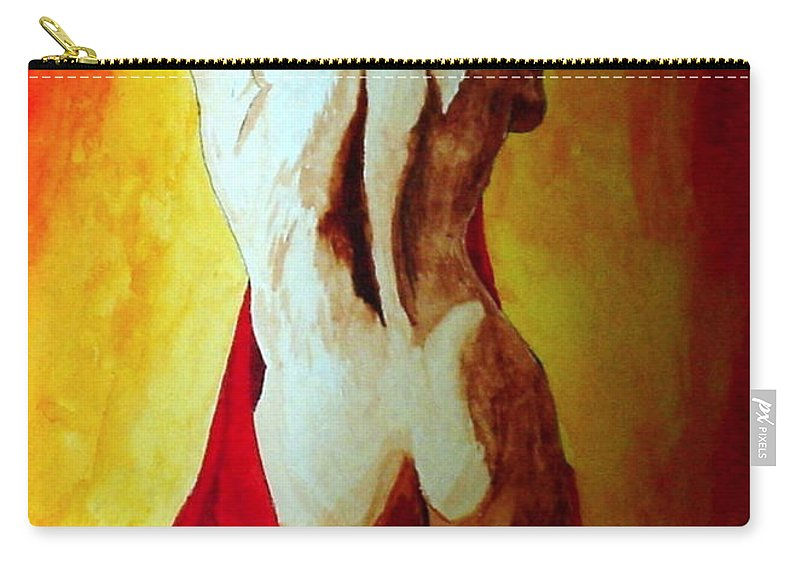 Nude Red Lady In Red Carry-all Pouch featuring the painting Lady in Red by Herschel Fall
