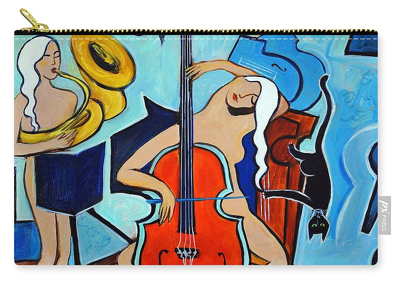 Musicians Carry-all Pouch featuring the painting Lady in Red by Valerie Vescovi