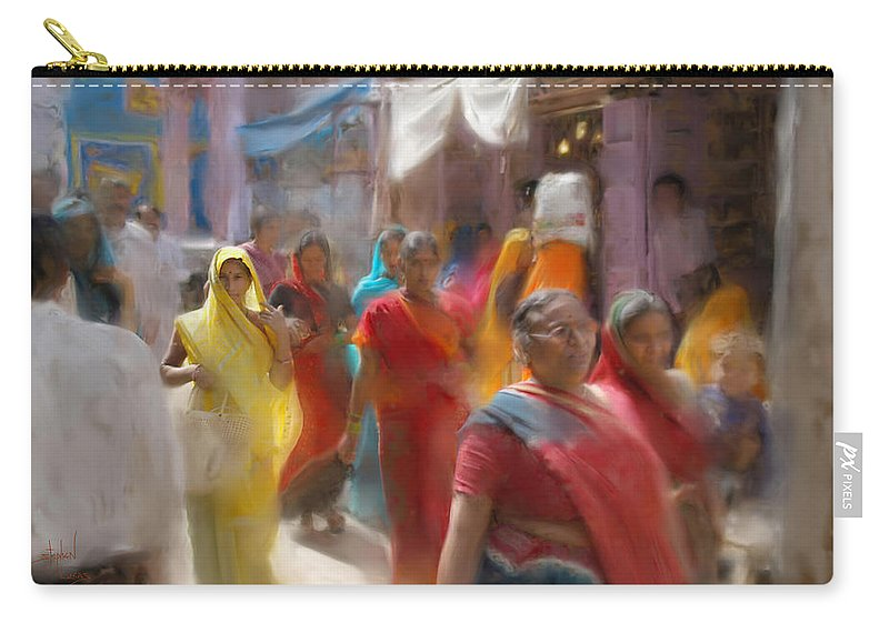 Women Carry-all Pouch featuring the digital art Lady in Summer yellow by Stephen Lucas