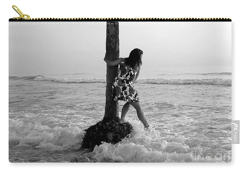 Beach Carry-all Pouch featuring the photograph Lady In The Surf by David Lee Thompson