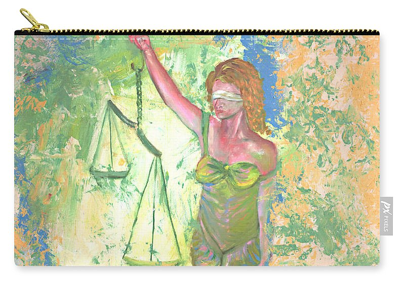 Ladyjustice Carry-all Pouch featuring the painting Lady Justice And The Man by Peter Bonk