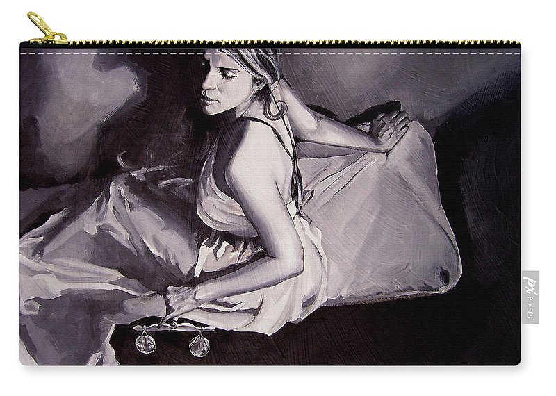 Law Art Carry-all Pouch featuring the painting Lady Justice Black And White by Laura Pierre-Louis