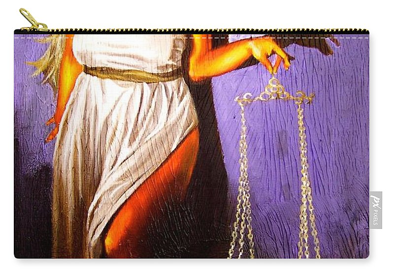 Law Carry-all Pouch featuring the painting Lady Justice Long Scales by Laura Pierre-Louis
