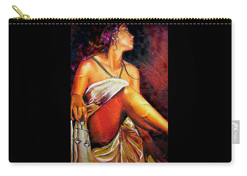 Law Art Carry-all Pouch featuring the painting Lady Justice Mini by Laura Pierre-Louis