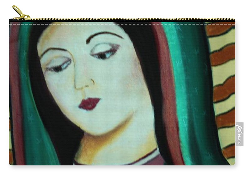 Lady Of Guadalupe Carry-all Pouch featuring the pastel Lady Of Guadalupe by Melinda Etzold